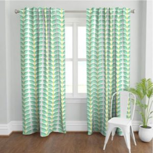 DOGWOOD MINT GREEN PATTERN PRODUCT CURTAIN