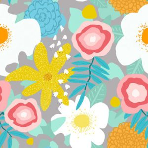 SPRING FLORAL GRAY PATTER FABRIC PRODUCT