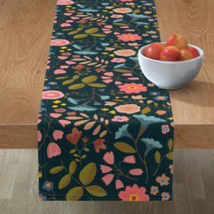 woodland-flowers-black-fabric-pattern-table-runner