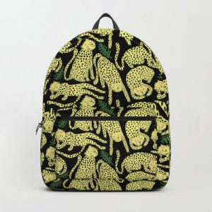 cheetah black fabric pattern backpack