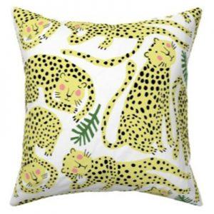 cheetah white fabric pattern throw pillow