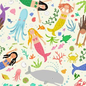mermaids fabric-pattern